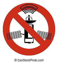 Illustration of a not allowed icon with a satellite, no sign