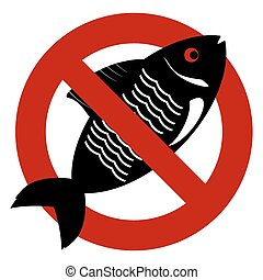 No fish forbidden sign symbol on white background.
