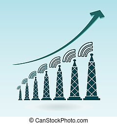 Tower with radio waves, transmitter icon. growth chart