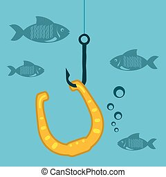 Golden horseshoe on a fishing hook with fish under water