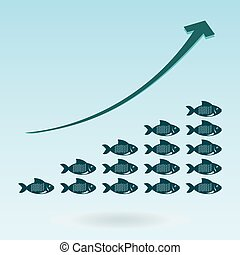 Group of fishes and growth chart