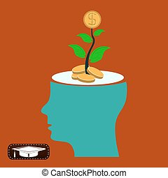 Young plant with golden coin in head, invest in profitable idea