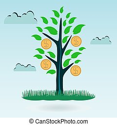 Tree with green leaves and gold coins on a background of clouds. An investment in the future growth of profits, capital increase