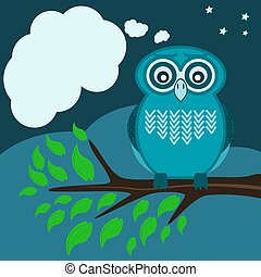 Owl sitting on a tree branch, green leaves with a speech bubble