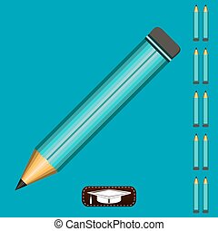A pencil at a 45 degree angle on a blue background. Gaining...
