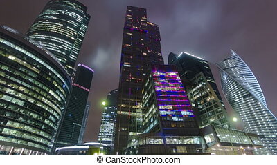 Skyscrapers International Business Center City night...