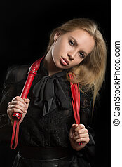 girl with red leather whip - portrait of a girl with red...