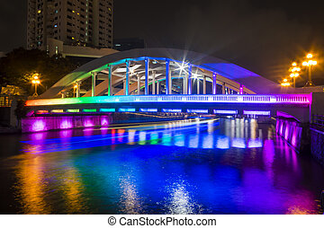 BOAT QUAY, SINGAPORE OCTOBER 12, 2015: colorful of Elgin...