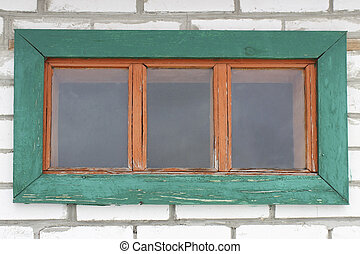The window in the wall - Old wooden window in the wall of...