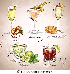 Contemporary Classics Coctail Set, excellent vector...