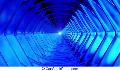 Broadcast Endless Hi-Tech Tunnel, Blue, Hexagon, Loopable, HD