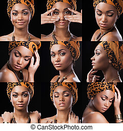 African queen. Collage of beautiful young African woman in...