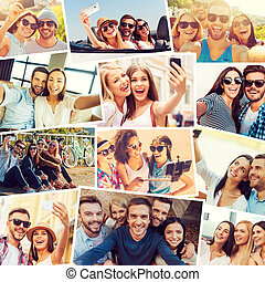 We love selfie! Collage of diverse multi-ethnic young people...
