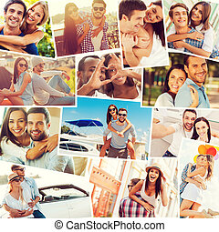 Loving couples. Collage of diverse multi-ethnic loving...