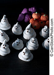 Ghosts of sugar and eggs for halloween