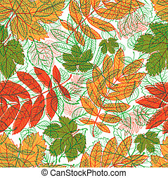 pattern with leafs - Vector seamless floral pattern with...