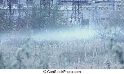 Smoke near power plant - Low smoke near thermal power plant