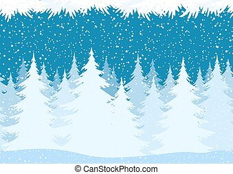 Seamless Christmas Forest Landscape