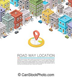 Road in the city Isometric. Vector background
