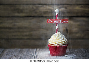 North Pole cupcake - Cupcake with North Pole sign