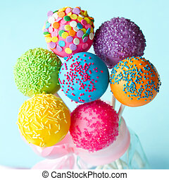 Cake pops - Colorful cake pops tied with a ribbon