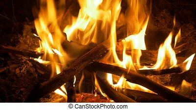 4K Bonfire, Campfire, Fireplace Closeup - Bonfire, Campfire,...