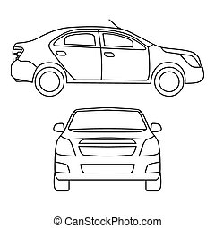 Drawing car, vector illustration, side view and front