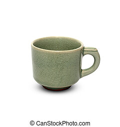 Ceramic coffee cup on a white background.