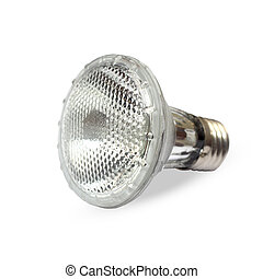 Halogen light bulb isolated over white