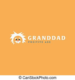 Logo grandfather Professor old man, white-haired cute icon...