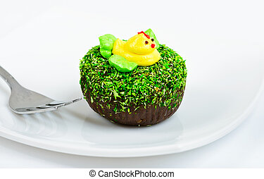 Chocolate cake decorated with duck