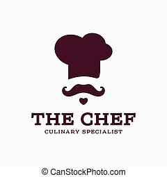 chef cook logo icon toque, chefs hat vector trend flat style...
