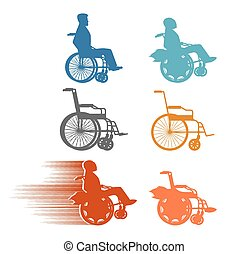 Set invalid. Collection of silhouettes of various disabilities and wheelchairs. Normal and high-speed wheelchair with turbo engine.