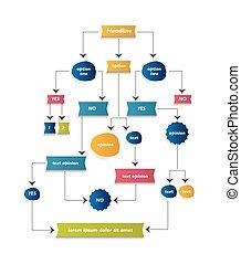 Flow chart diagram, scheme. Infographic algorithm element. -...