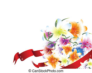 bright multicolored lily bouquet - illustration of bright...