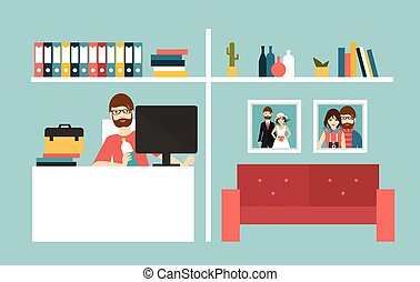 Home office Man work day in home interior Flat design