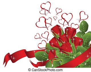 花束, バラ, 赤