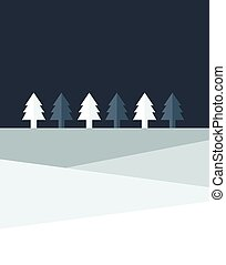 Christmas night tree land. Simply flat design.