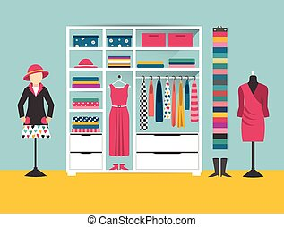 Clothing store. Boutique indoor. Flat design vector...