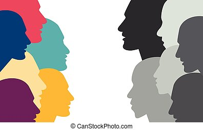 Various color people head in dialogue.