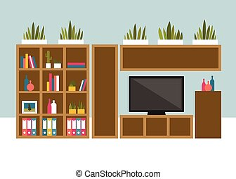 Living room with TV and book shelves Flat design