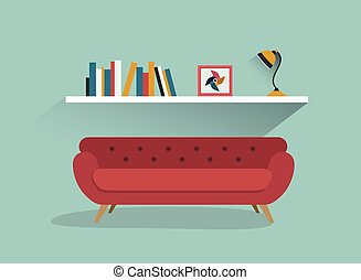 Retro red sofa and book shelf with lamp. Flat design
