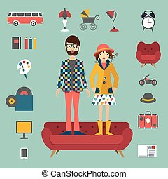 Hipster needs couple style concept
