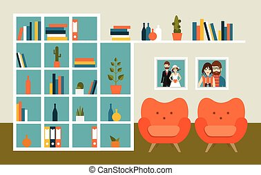 Living room wall with orange armchairs and book shelves Flat...