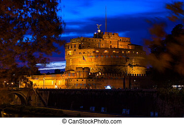 Castle San Angelo in night, Rome, Italy