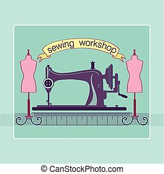 Hand drawn sewing lable with a sewing machine Vector...