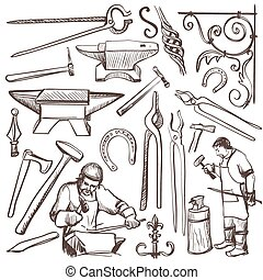 Hand drawn sketch blacksmith set, such as horseshoe,...