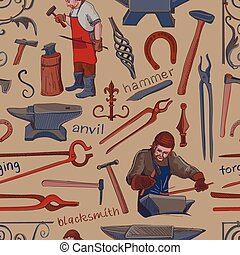 Seamless pattern with objects on blacksmith theme with...