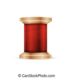 Spool of red thread isolated in white background