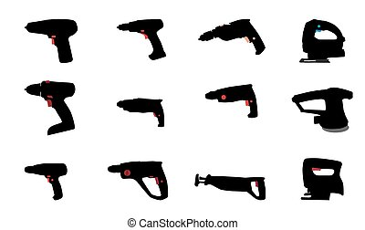 Drill, Jig Saw and other Power Tools Vector Illustration...